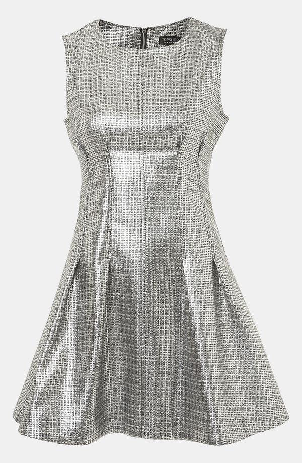 Main Image - Topshop Sleeveless Metallic Shift Dress