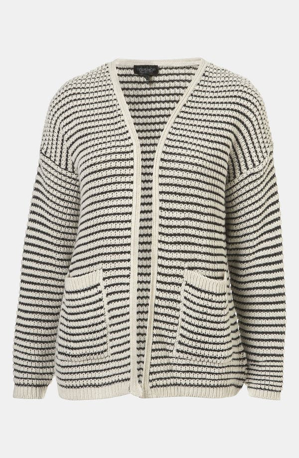Main Image - Topshop Stripe Textured Stitch Cardigan