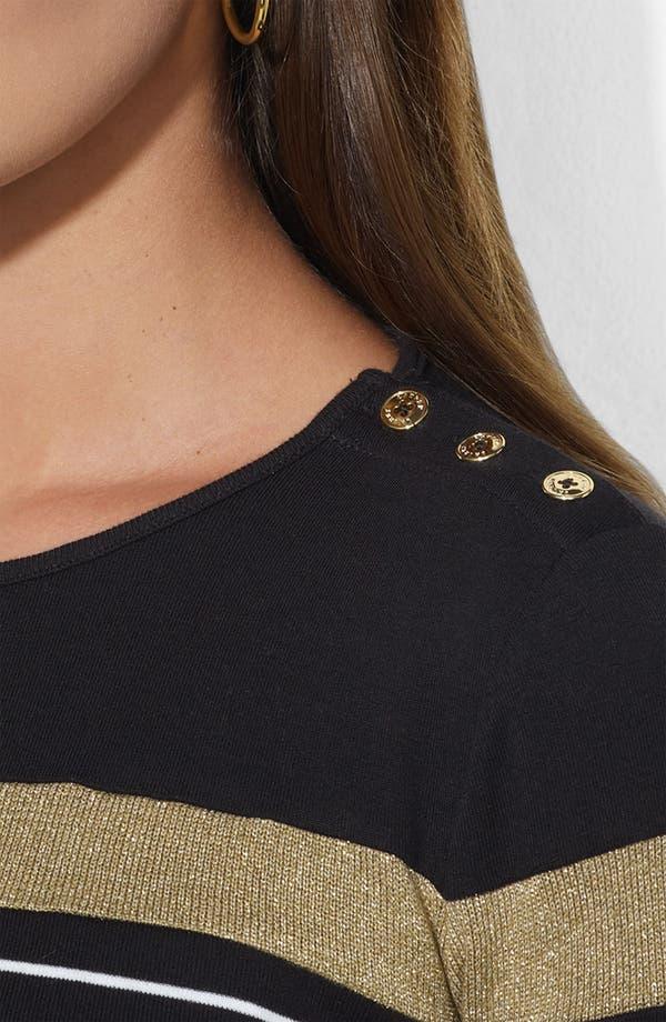 Alternate Image 3  - Lauren Ralph Lauren Button Shoulder Stripe Tee (Petite)