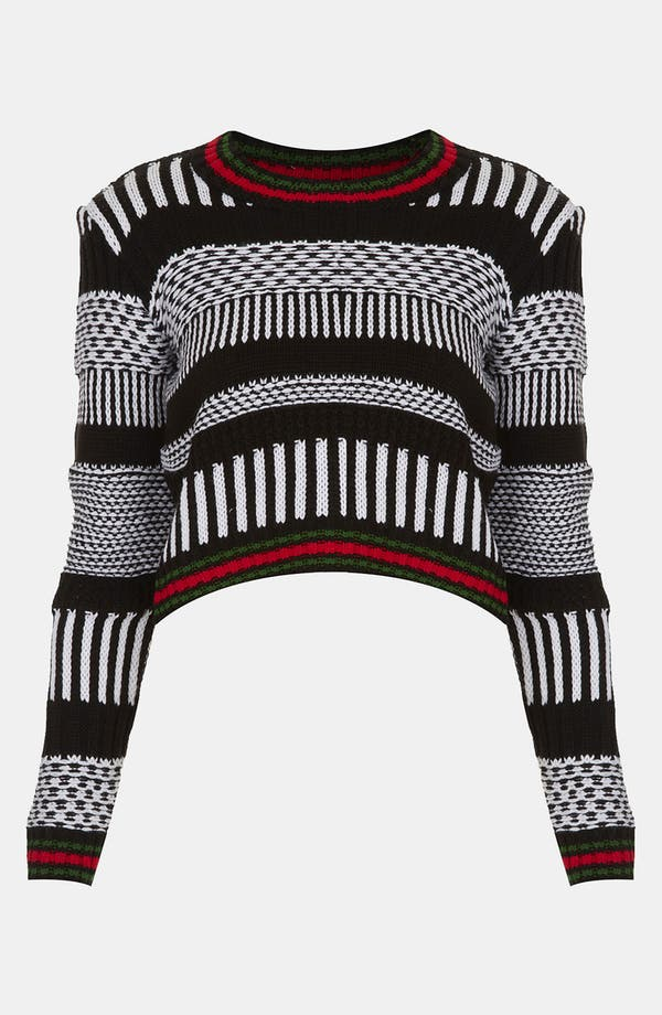 Main Image - Topshop Graphic Knit Crop Sweater