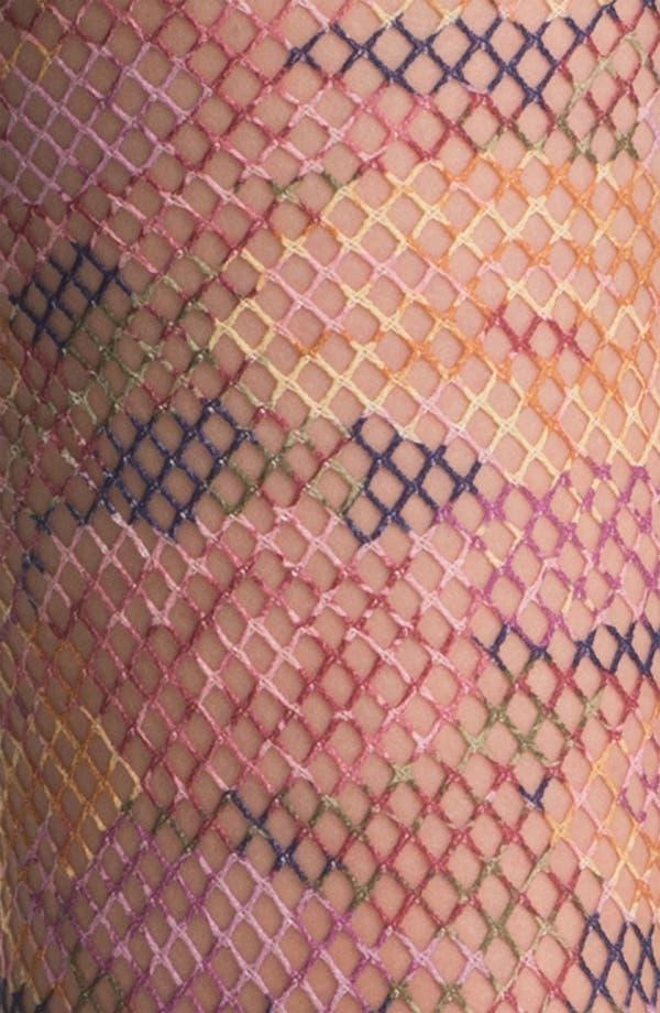 Alternate Image 2  - Kensie Floral Print Fishnet Tights
