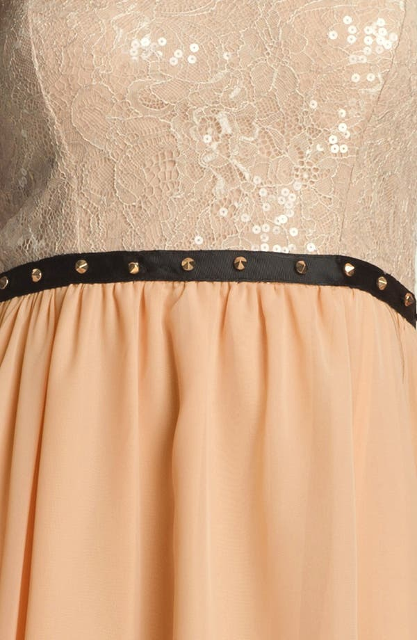 Alternate Image 3  - Way-In Studded Waist High/Low Dress (Juniors)
