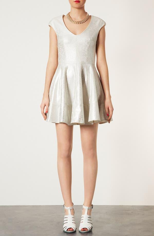 Alternate Image 1 Selected - Topshop Metallic Lace Skater Dress