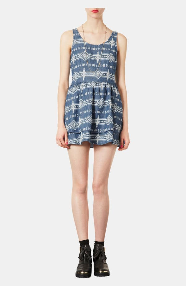 Main Image - Topshop Moto Lace Up Tribal Print Denim Dress