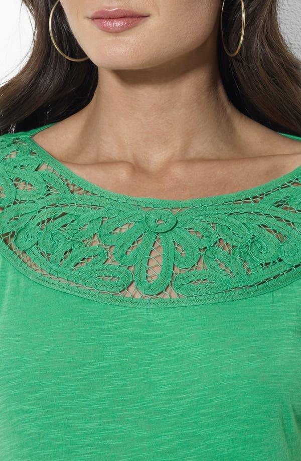 Alternate Image 3  - Lauren Ralph Lauren Crochet Trim Ballet Neck Top