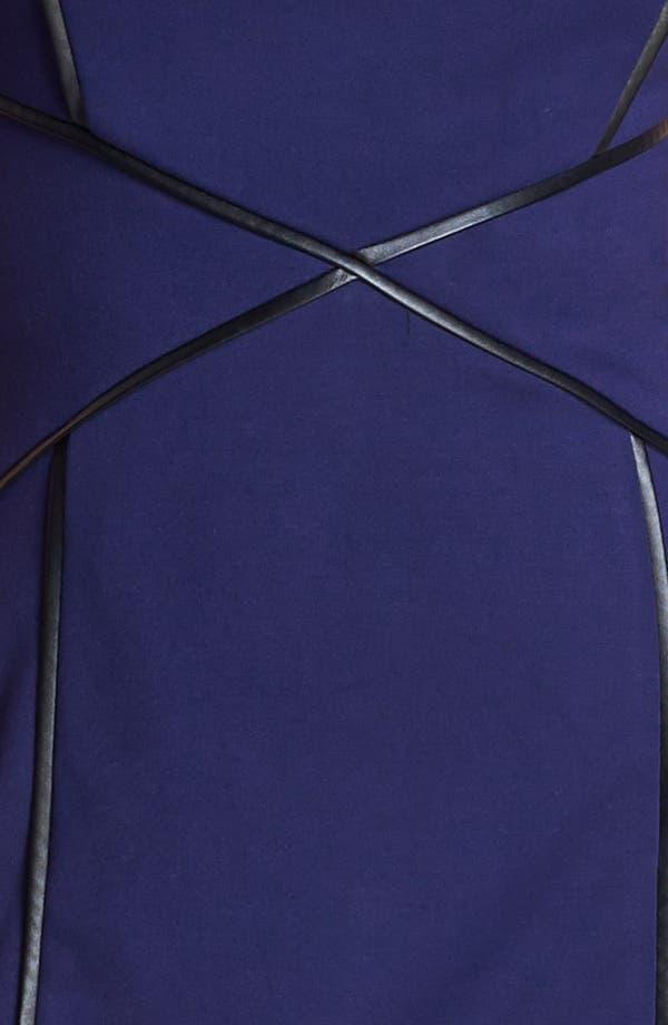 Alternate Image 3  - Cynthia Steffe Cap Sleeve Faux Leather Trim Ponte Sheath Dress