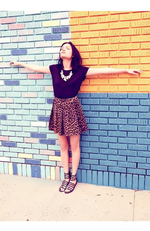 Main Image - Piper Top & Mural Leopard Print Skater Skirt