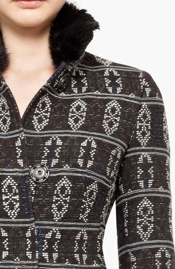 Alternate Image 3  - Akris punto Jacquard Coat with Genuine Rabbit Fur Collar