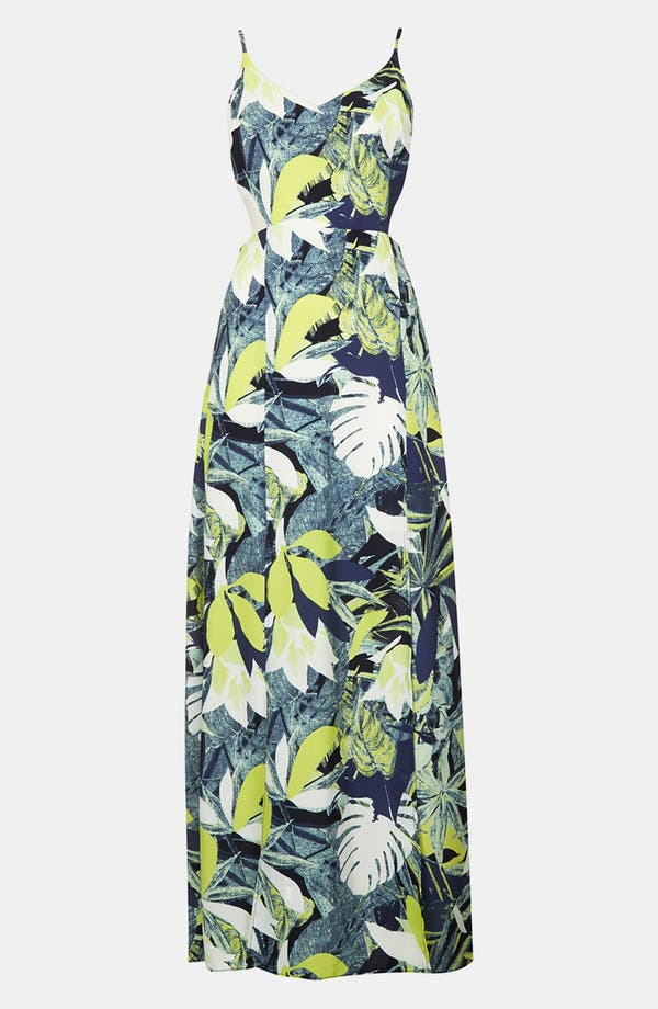 Alternate Image 3  - Topshop Leaf Print Cutout Maxi Dress