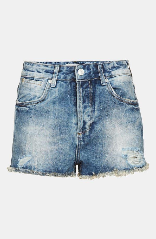 Alternate Image 3  - Topshop 'Waterless Ruthie' Destroyed Cutoff Denim Shorts (Mid Stone)