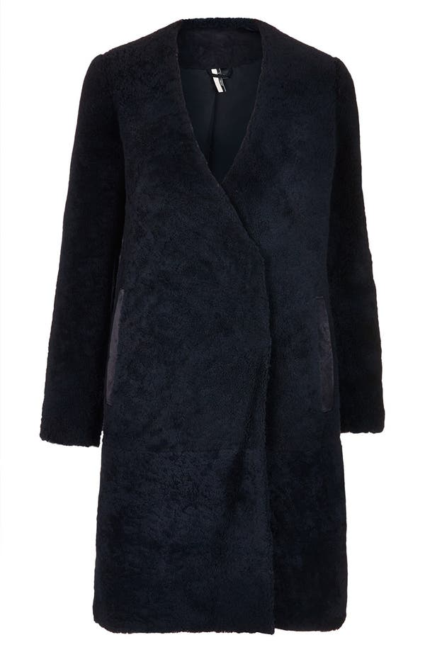 Main Image - Topshop 'The Collection Starring Kate Bosworth' Genuine Shearling Coat