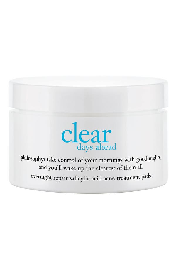 Alternate Image 1 Selected - philosophy 'clear days ahead overnight repair' acne treatment pads