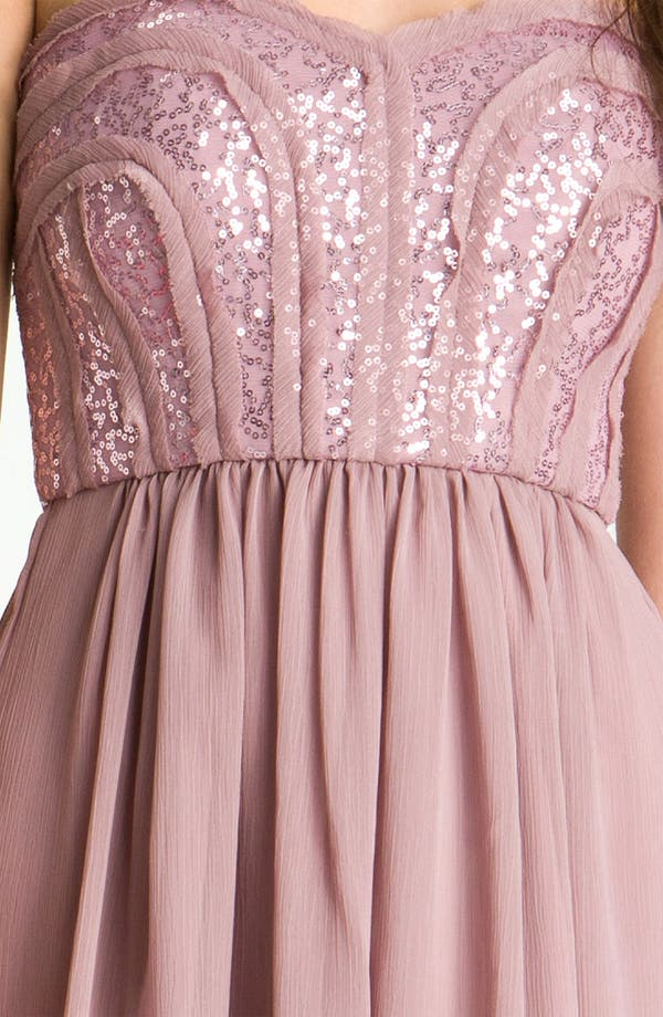 Alternate Image 5  - Max & Cleo 'Monica' Sequin Bodice Sweetheart Chiffon Dress