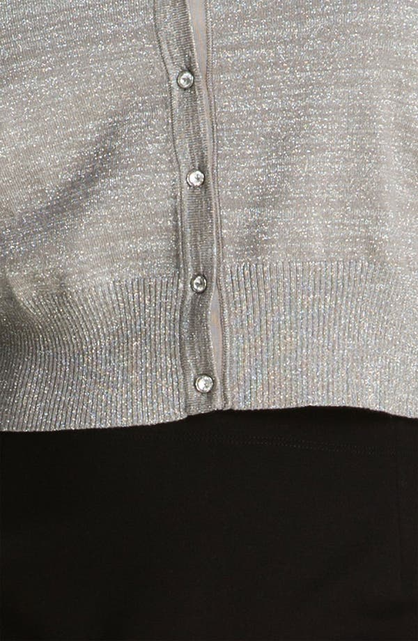 Alternate Image 3  - Donna Ricco Crystal Button Metallic Cardigan (Plus Size)