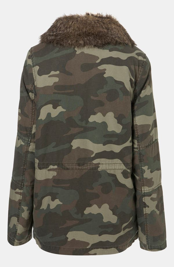Alternate Image 2  - Topshop Faux Fur Lined Camo Utility Jacket