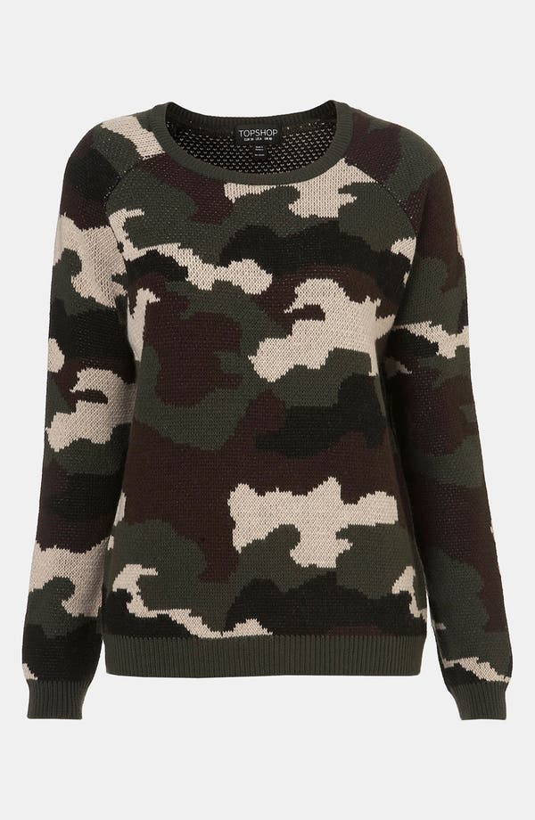 Main Image - Topshop Camouflage Sweater