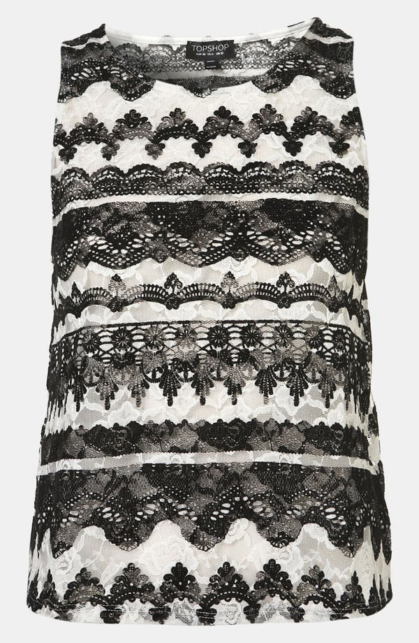 Alternate Image 1 Selected - Topshop 'Baroque' Velvet Lace Tank