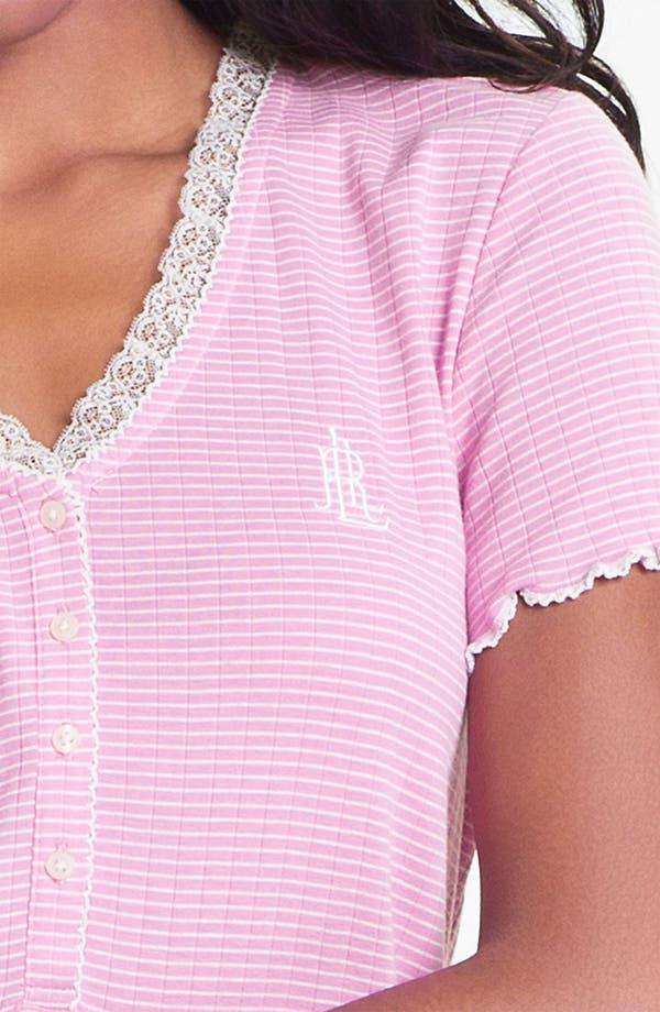 Alternate Image 3  - Lauren Ralph Lauren Lace Trim Ribbed Knit Pajamas