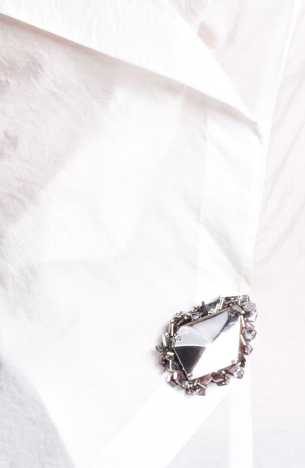 Alternate Image 3  - Donna Karan Collection Crystal Pin Paper Cotton Shirt