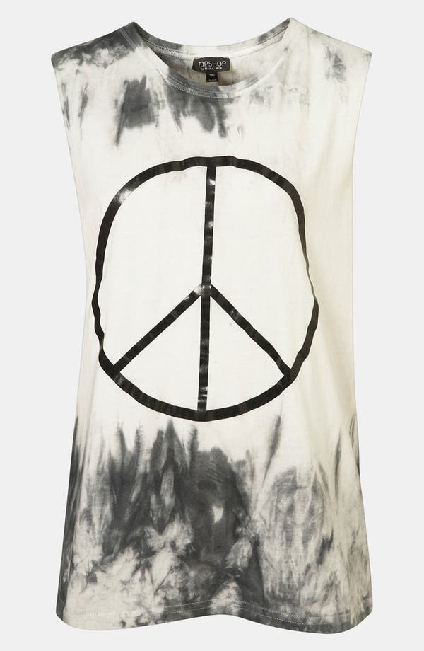 Alternate Image 1 Selected - Topshop Peace Graphic Tie Dye Tank