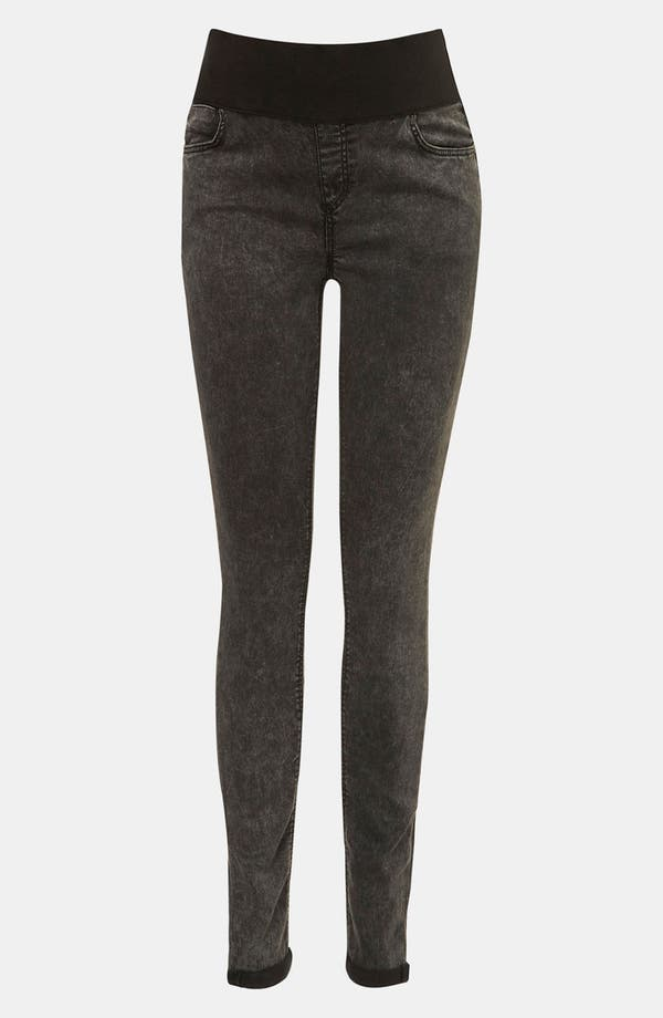 Alternate Image 1 Selected - Topshop 'Leigh' Acid Wash Denim Maternity Leggings