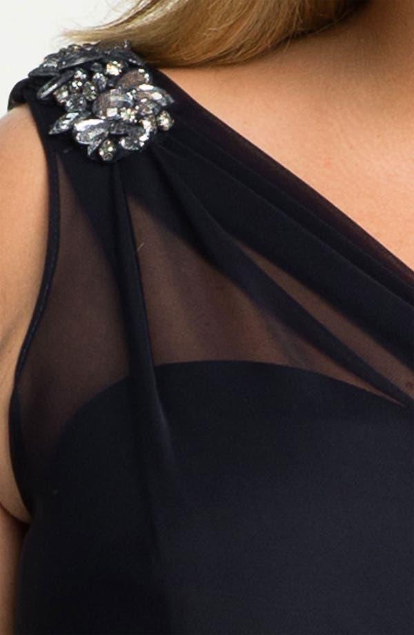 Alternate Image 3  - Xscape Beaded Shoulder Mesh Dress (Plus)