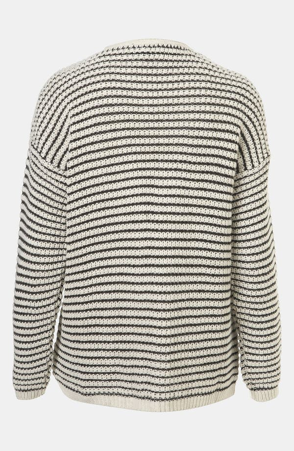 Alternate Image 2  - Topshop Stripe Textured Stitch Cardigan