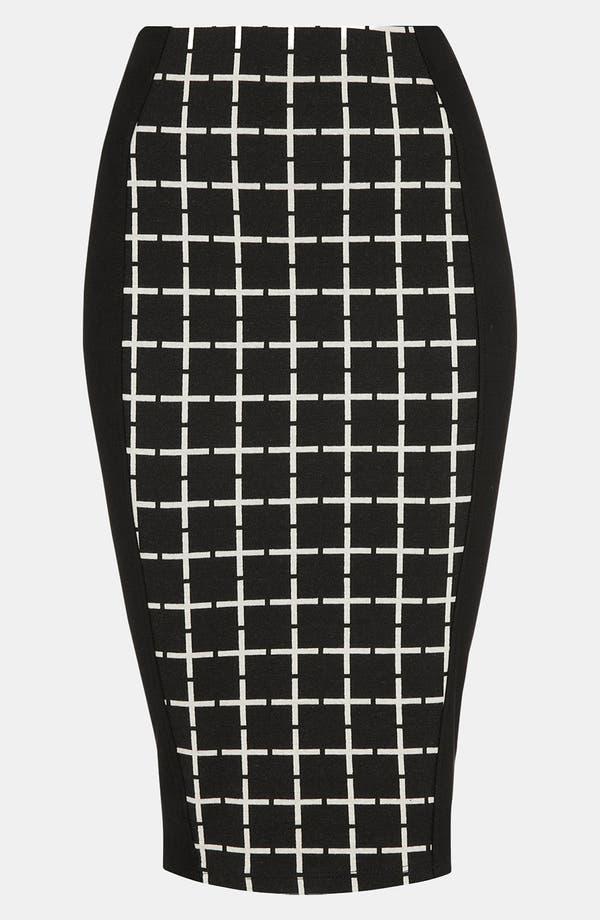 Main Image - Topshop Grid Print Panel Midi Skirt