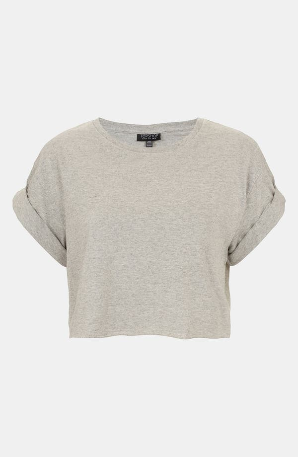 Alternate Image 1 Selected - Topshop Rolled Sleeve Crop Tee