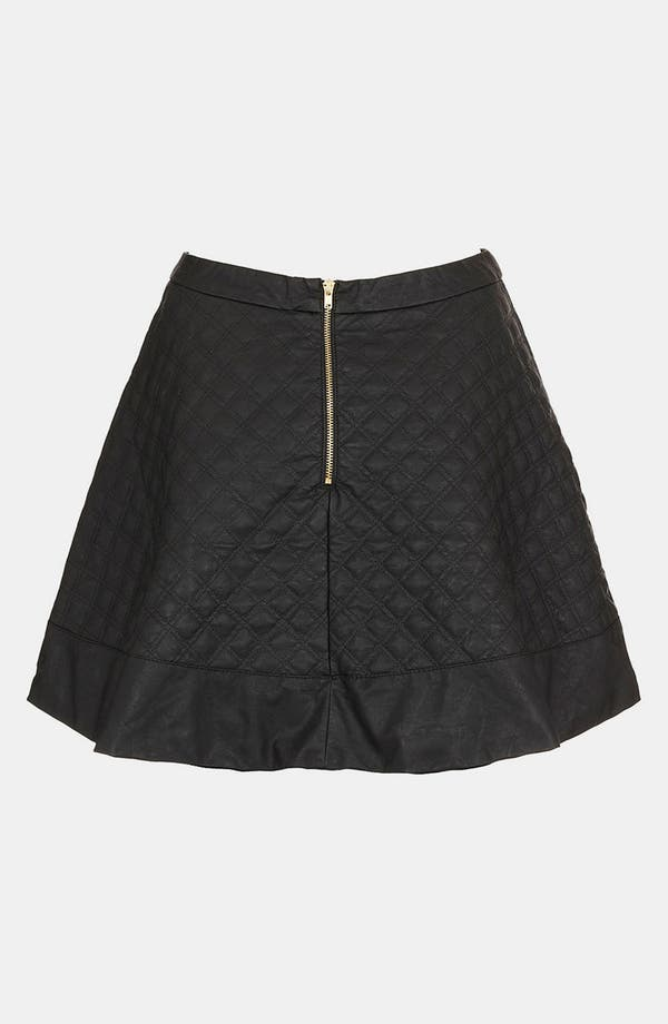 Alternate Image 2  - Topshop Quilted Faux Leather Skater Skirt (Petite)