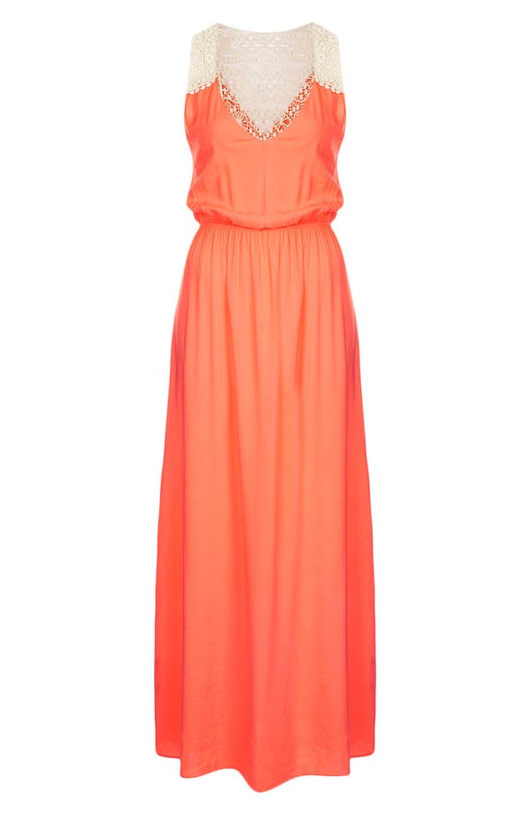 Alternate Image 2  - Topshop Crochet Panel Maxi Dress