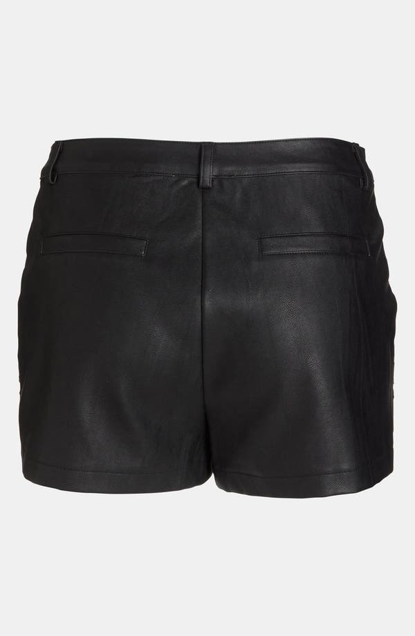 Alternate Image 3  - ASTR Crochet Front Faux Leather Shorts