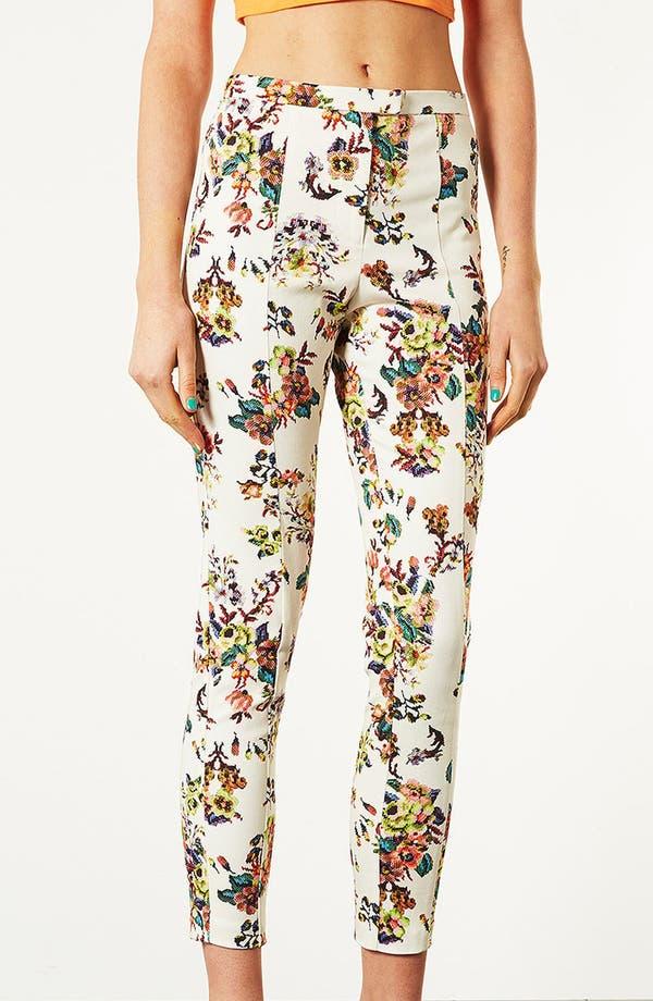 Main Image - Topshop Pixelated Floral High Waist Pants