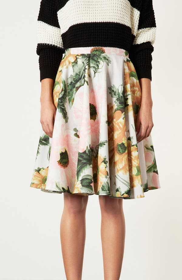 Main Image - Topshop 'Modern Flower' Skirt