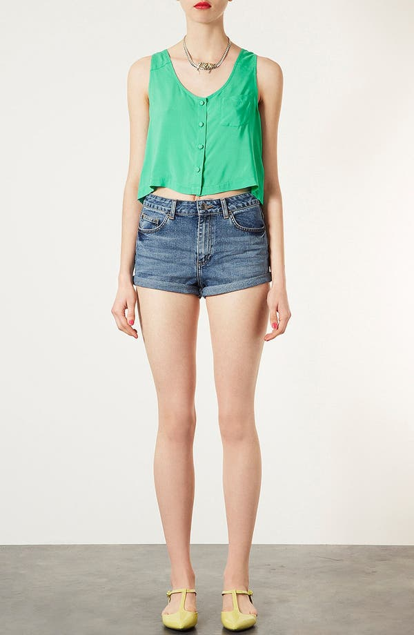 Alternate Image 5  - Topshop Moto 'Dark Vintage Polly' Denim Shorts