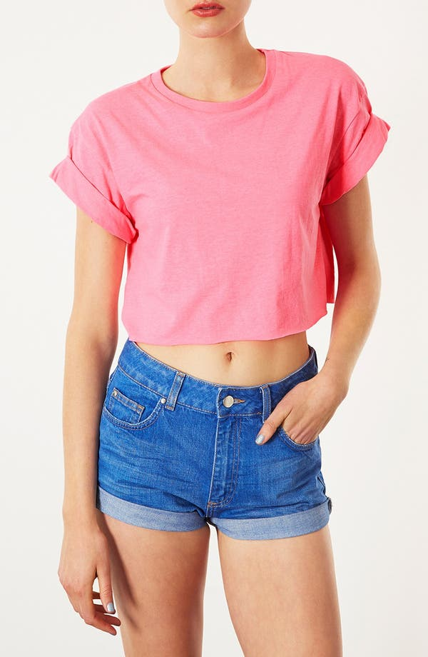 Main Image - Topshop Fluorescent Roll Sleeve Tee