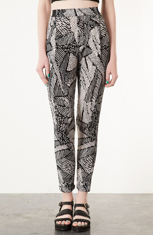 Main Image - Topshop 'Scribble' Tapered Trousers