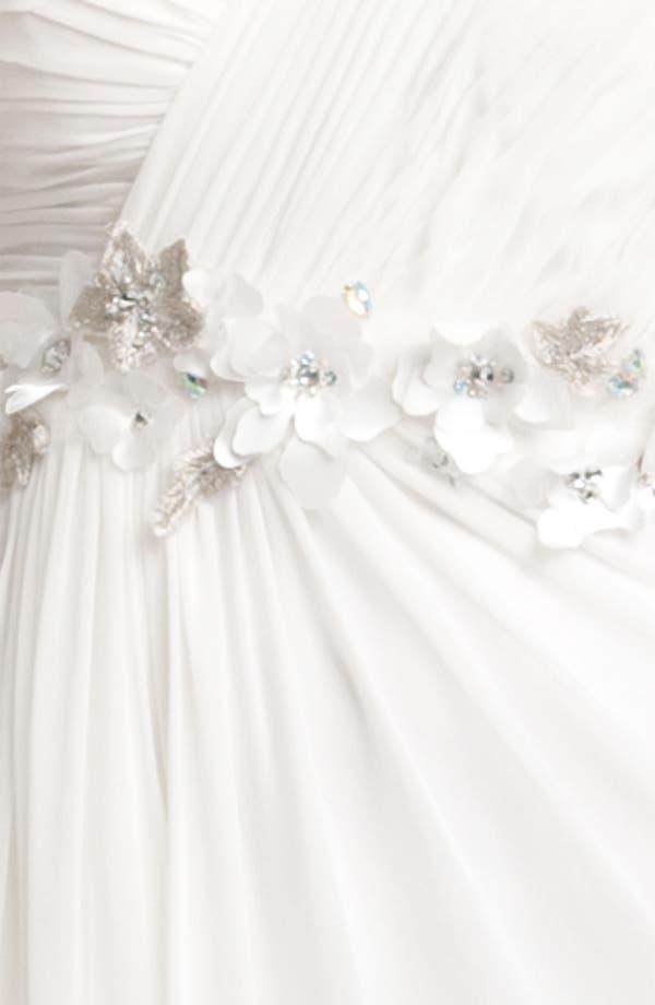 Alternate Image 5  - Faviana Flower Embellished One Shoulder Chiffon Gown