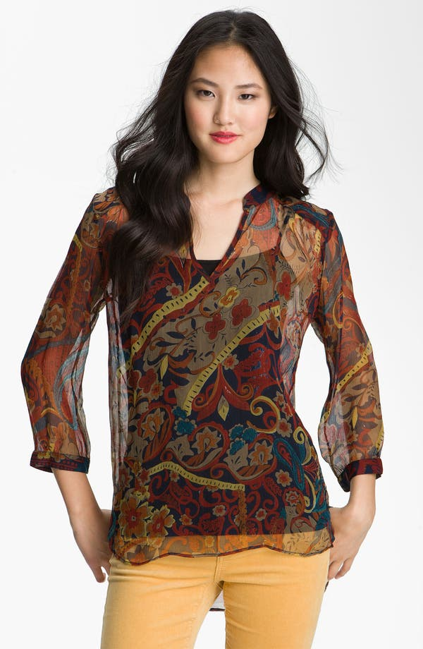 Alternate Image 1 Selected - Lucky Brand 'Carnival Paisley' Sheer Chiffon Top