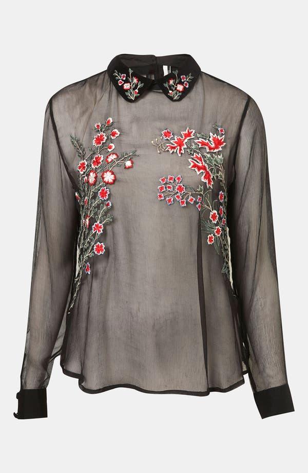 Main Image - Topshop Embroidered Sheer Shirt