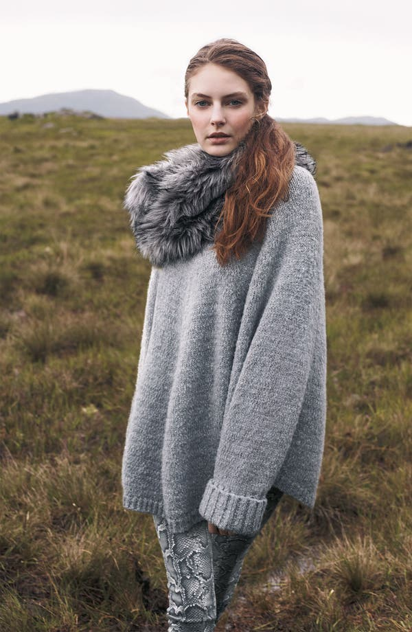 Alternate Image 5  - MICHAEL Michael Kors Faux Fur Trim Poncho Sweater