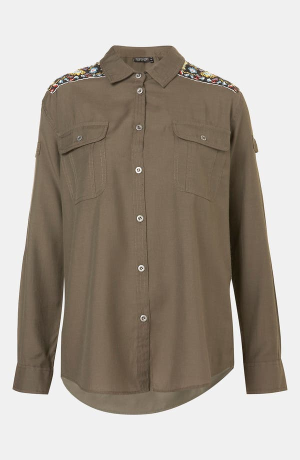 Main Image - Topshop Beaded Epaulette Army Shirt