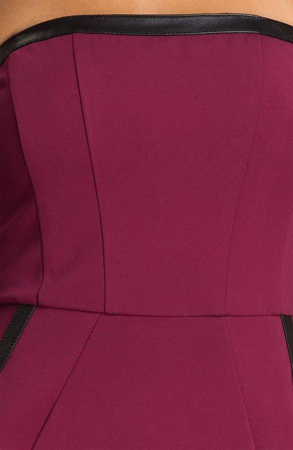 Alternate Image 3  - ABS by Allen Schwartz Leather Trim Strapless Sheath Dress