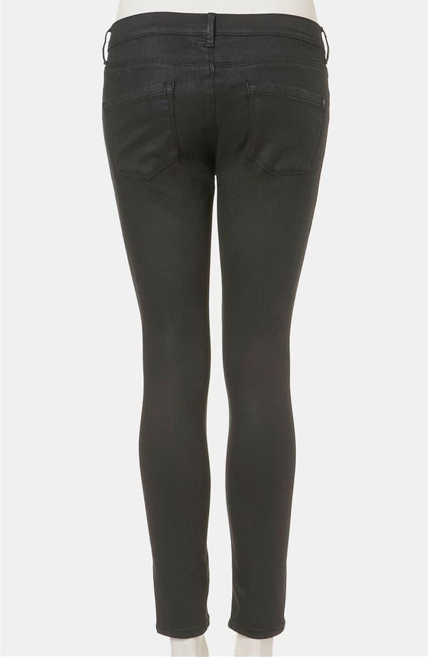 Alternate Image 2  - Topshop Moto 'Leigh' Coated Skinny Jeans (Black) (Petite)