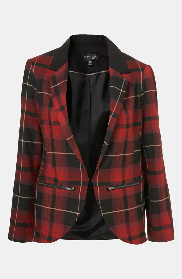 Alternate Image 1 Selected - Topshop Tartan Blazer