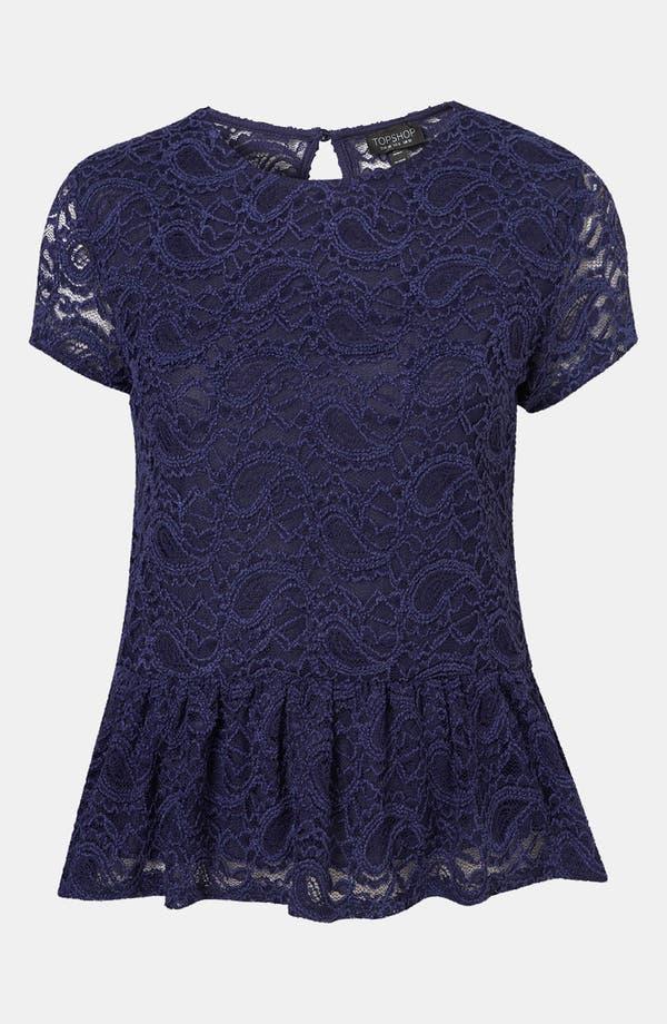 Alternate Image 1 Selected - Topshop Lace Peplum Top