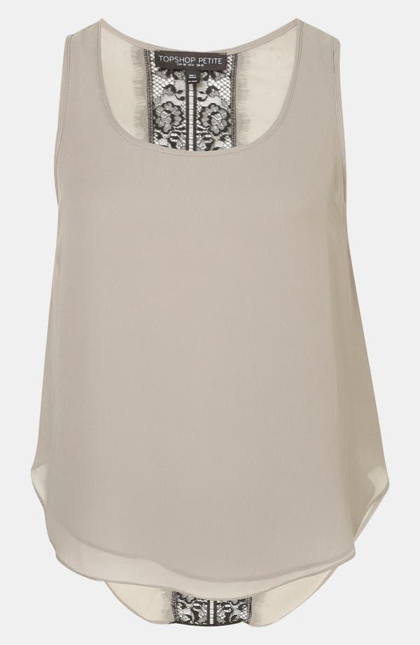 Main Image - Topshop Lace Back Tank (Petite)