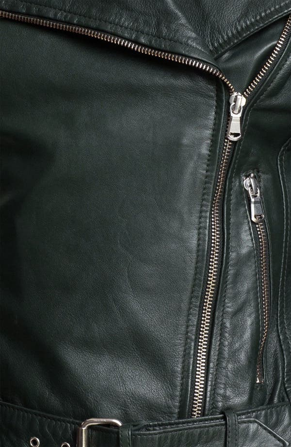 Alternate Image 3  - Kenna-T Cropped Leather Biker Jacket