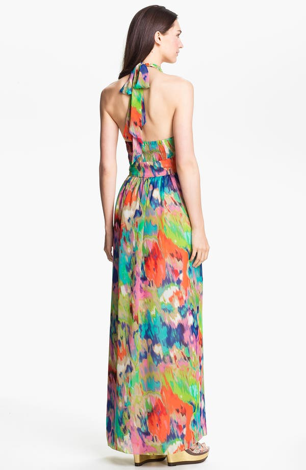 Alternate Image 2  - Eliza J Halter Print Chiffon Maxi Dress