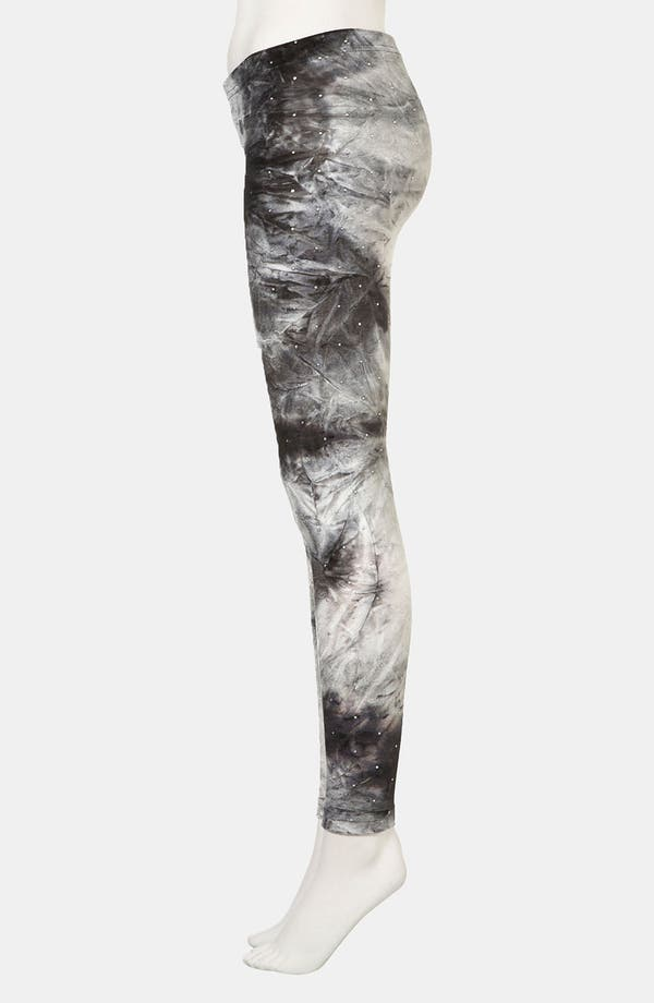 Alternate Image 4  - Topshop Studded Tie Dye Velvet Leggings